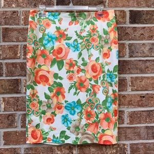 Charter club Floral Pencil Skirt- Mint and Coral @B3
